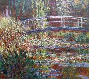 Claude Monet - The Water Lily Pond, Pink Harmony - (paintings reproductions)