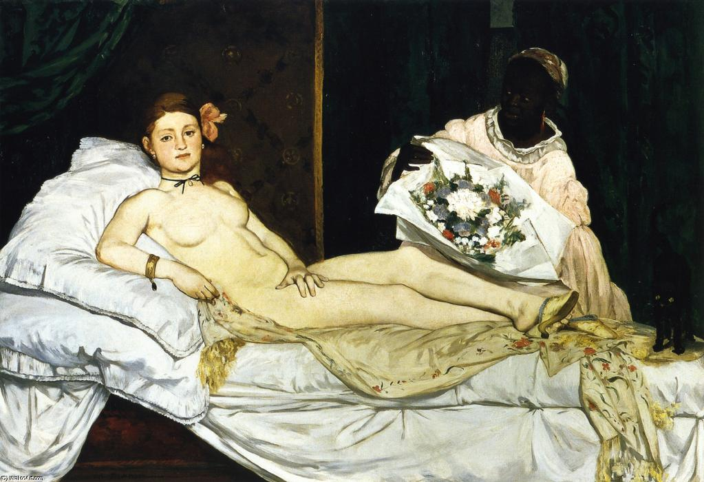 Olympia, 1863 by Edouard Manet (1832-1883, France) | Art Reproductions Edouard Manet | WahooArt.com