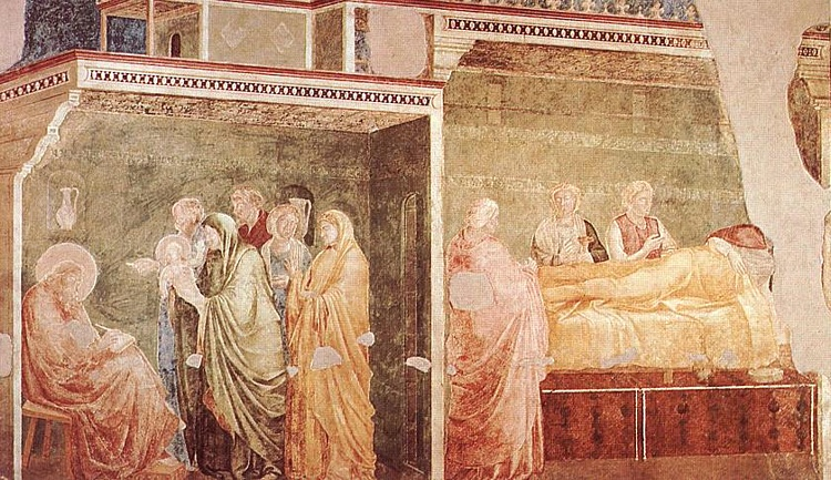 Life of St John the Baptist - [02] - Birth and Naming of the Baptist by Giotto Di Bondone (1267-1337, Italy) | Reproductions Giotto Di Bondone | WahooArt.com