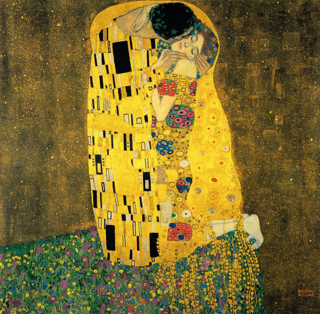 The Kiss (Bacio), 1907 by Gustav Klimt (1862-1918, Austria) | Oil Painting | WahooArt.com