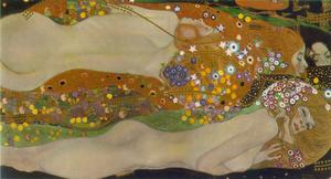 Gustav Klimt - Water Serpents II (Bewegtes Wasser sfondo) - (Famous paintings reproduction)