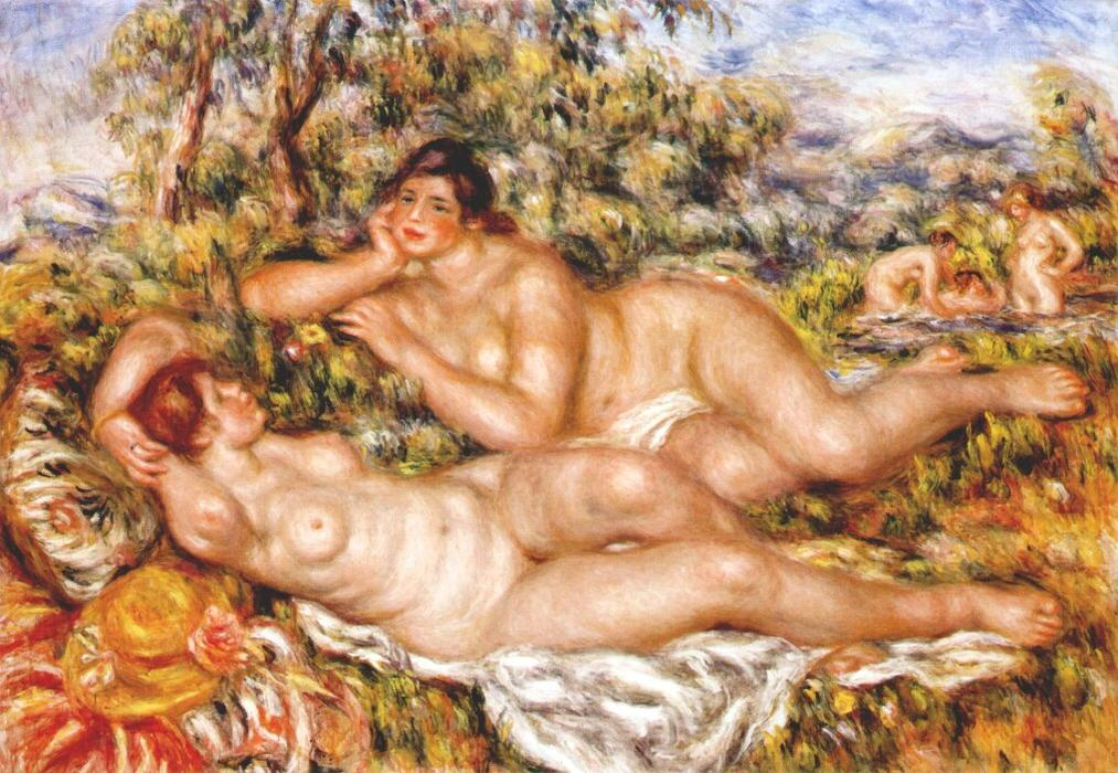 The Great Bathers (The Nymphs), 1919 by Pierre-Auguste Renoir (1841-1919, France) | Museum Art Reproductions Pierre-Auguste Renoir | WahooArt.com