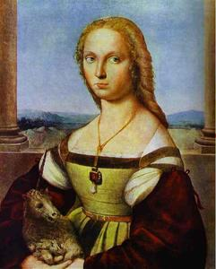 Raphael (Raffaello Sanzio Da Urbino) - Portrait of a Lady with a Unicorn - (Famous paintings)