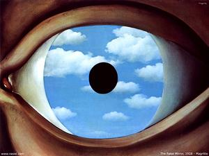 Rene Magritte - False Mirror - (Famous paintings)