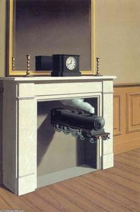 Rene Magritte - Time transfixed - (Famous paintings reproduction)