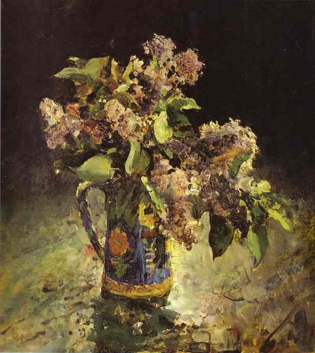 Lilacs in Vase, 1887 by Valentin Alexandrovich Serov (1865-1911, Russia) | Oil Painting | WahooArt.com