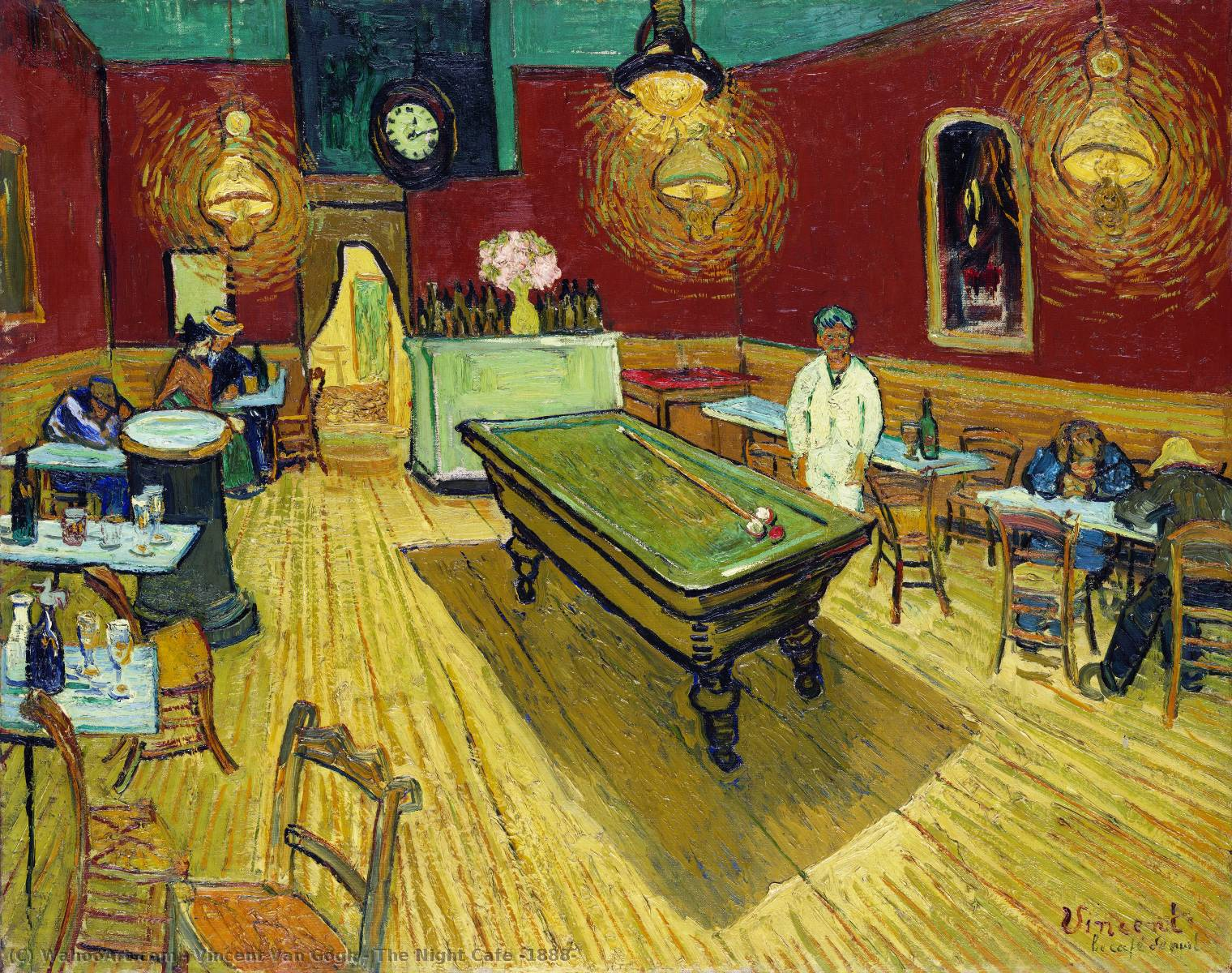 The Night Cafe [1888], 1888 by Vincent Van Gogh (1853-1890, Netherlands) | Museum Art Reproductions Vincent Van Gogh | WahooArt.com