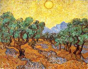 Vincent Van Gogh - Olive Trees with Yellow Sky and Sun - (paintings reproductions)