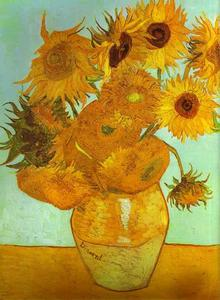 Vincent Van Gogh - Twelve Sunflowers in a Vase - (paintings reproductions)
