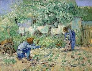 Vincent Van Gogh - First Steps (after Millet) - (Famous paintings reproduction)