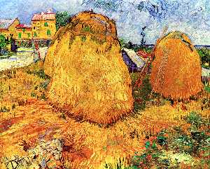 Vincent Van Gogh - Haystacks in Provence - (Famous paintings)
