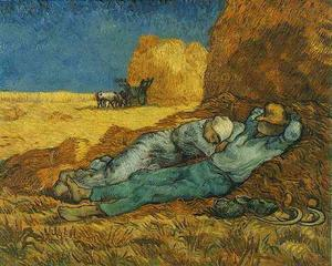 Vincent Van Gogh - Noon Rest from Work after Millet - (Famous paintings reproduction)