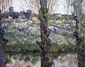 Vincent Van Gogh - Orchard in Blossom with View of Arles - (Famous paintings reproduction)