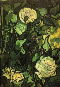 Vincent Van Gogh - Roses and Beetle - (paintings reproductions)