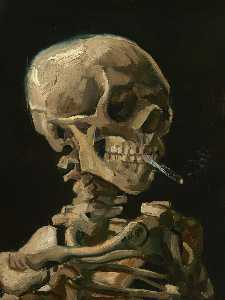 Vincent Van Gogh - Skull with Burning Cigarette - (paintings reproductions)