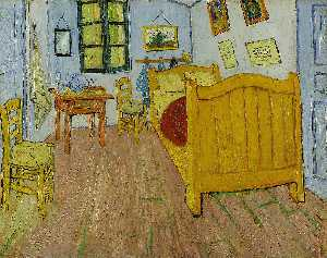 Vincent Van Gogh - Vincent's Bedroom in Arles (First version) - (Famous paintings reproduction)