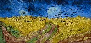 Vincent Van Gogh - Wheatfield with Crows - (Famous paintings reproduction)