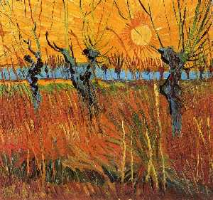 Vincent Van Gogh - Willows at Sunset - (Famous paintings)