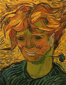 Vincent Van Gogh - Young Man with Cornflower - (Famous paintings reproduction)