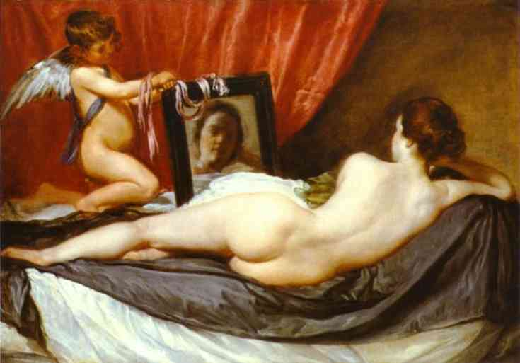 Venus at Her Mirror, Oil by Diego Velazquez (1599-1660, Spain)