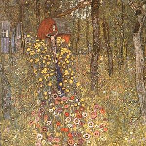 Gustav Klimt - Farm Garden with Crucifix - (paintings reproductions)