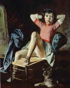 Balthus (Balthasar Klossowski) - Girl with Cat - (Famous paintings reproduction)