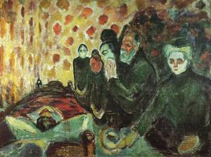 Edvard Munch - Near the bed of death (fever) - (paintings reproductions)