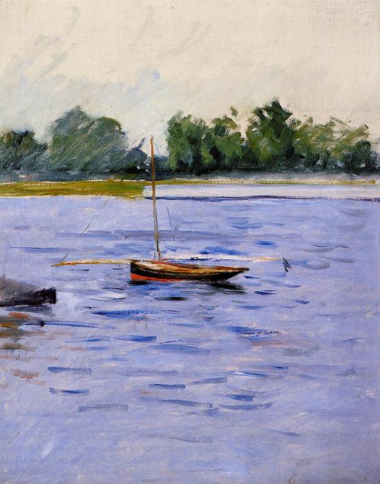 Boat at Anchor on the Seine, 1891 by Gustave Caillebotte (1848-1894, France) | Oil Painting | WahooArt.com