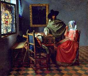 Jan Vermeer - A Lady Drinking and a Gentleman and The Glass of Wine - (Famous paintings reproduction)