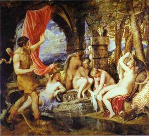 Tiziano Vecellio (Titian) - Diana and Actaeon - (Famous paintings)