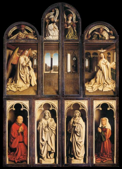 The Ghent Altarpiece (wings closed), 1432 by Jan Van Eyck (1390-1441, Netherlands) | Museum Quality Copies Jan Van Eyck | WahooArt.com