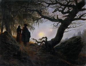 Caspar David Friedrich - Man and Woman Contemplating the Moon - (paintings reproductions)