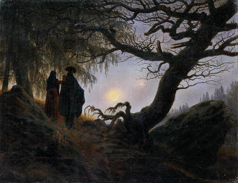 Man and Woman Contemplating the Moon, 1824 by Caspar David Friedrich (1774-1840, Germany) | Oil Painting | WahooArt.com