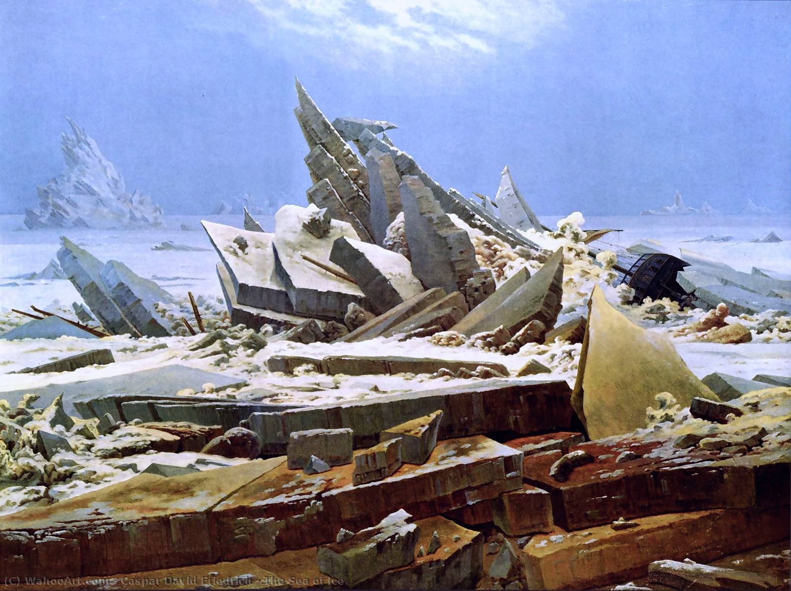 The Sea of Ice, 1824 by Caspar David Friedrich (1774-1840, Germany) | Famous Paintings Reproductions | WahooArt.com