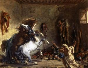 Eugène Delacroix - Arab Horses Fighting in a Stable - (paintings reproductions)