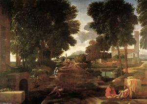Nicolas Poussin - A Roman Road - (oil painting reproductions)
