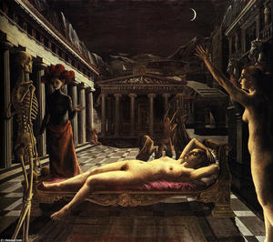 Paul Delvaux - The Sleeping Venus - (Famous paintings reproduction)