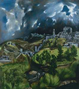 El Greco (Doménikos Theotokopoulos) - View of Toledo - (paintings reproductions)