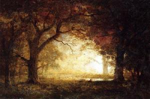 Albert Bierstadt - Forest Sunrise - (Famous paintings reproduction)