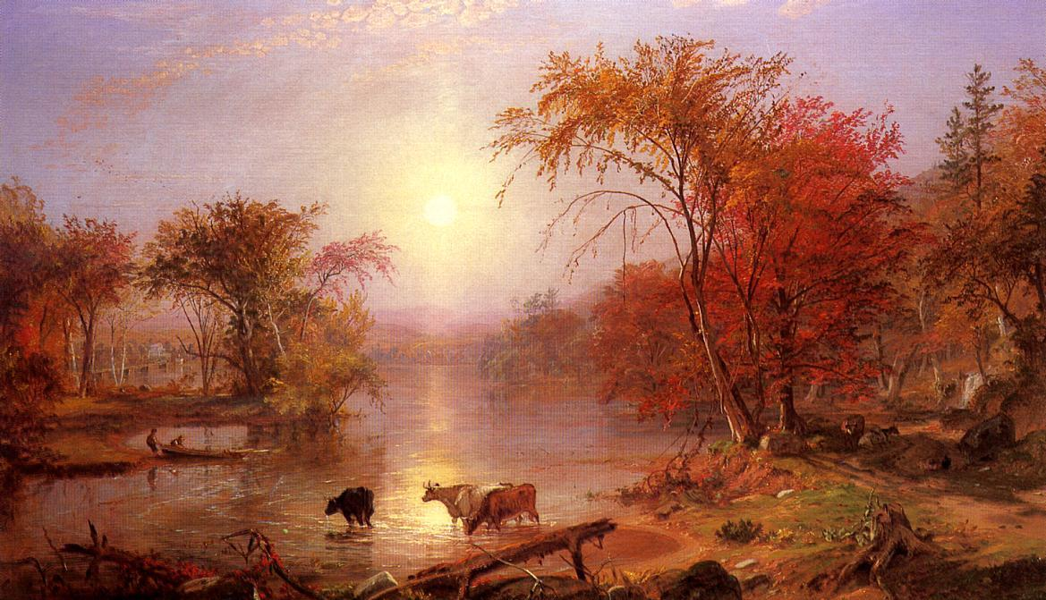 Indian Summer Hudson River, 1861 by Albert Bierstadt (1830-1902, Germany) | Famous Paintings Reproductions | WahooArt.com