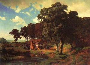 Albert Bierstadt - Rustic Mill - (Famous paintings reproduction)