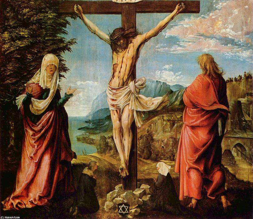 Crucifixion scene, Christ on the Cross with Mary and John, 1516 by Albrecht Altdorfer (1480-1538, Germany) | Art Reproductions Albrecht Altdorfer | WahooArt.com