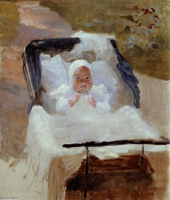 The Artist`s Son Erik in his Pram by Albert Edelfelt (1854-1905, Finland) | Paintings Reproductions Albert Edelfelt | WahooArt.com
