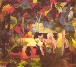 August Macke - Landscape with Cows and Camel - (Buy fine Art Reproductions)