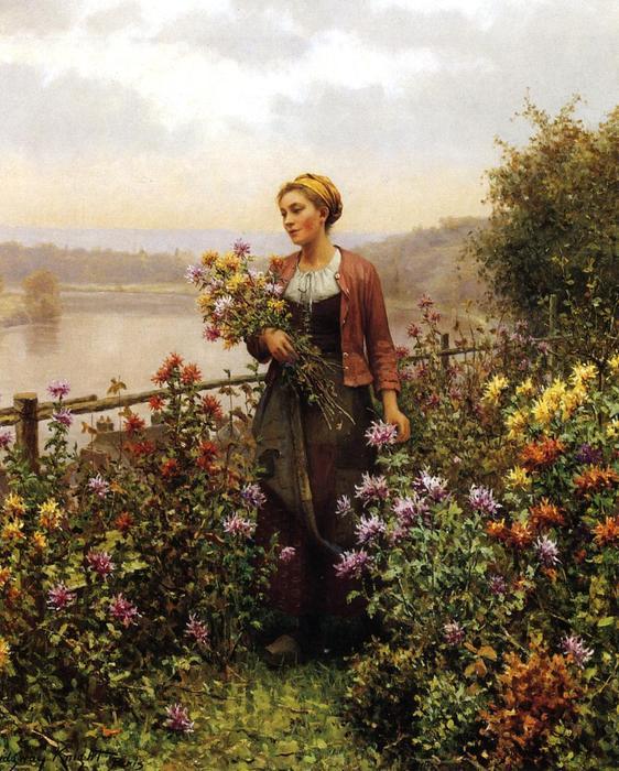 62af39c07 mujer en a jardín de Daniel Ridgway Knight (1839-1924, United States) |  Impresiones De Arte ...