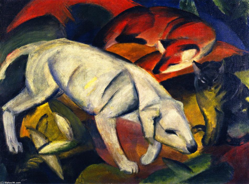 Three Animals (Dog, Fox and Cat), 1912 by Franz Marc (1880-1916, Germany) | Museum Quality Reproductions | WahooArt.com