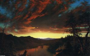 Frederic Edwin Church - Twilight in the Wilderness - (Famous paintings reproduction)