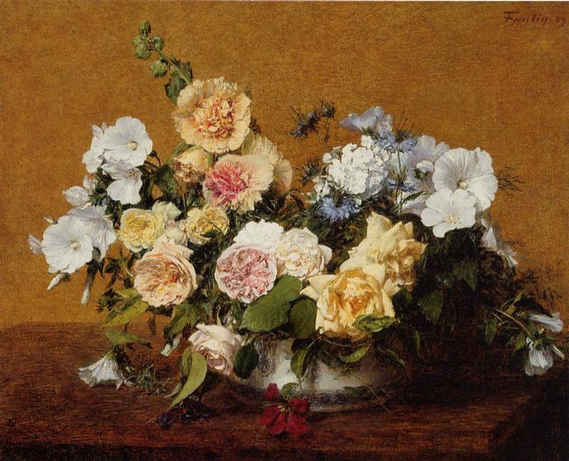 bouquet di rose e altro fiori di Henri Fantin Latour (1836-1904 ...