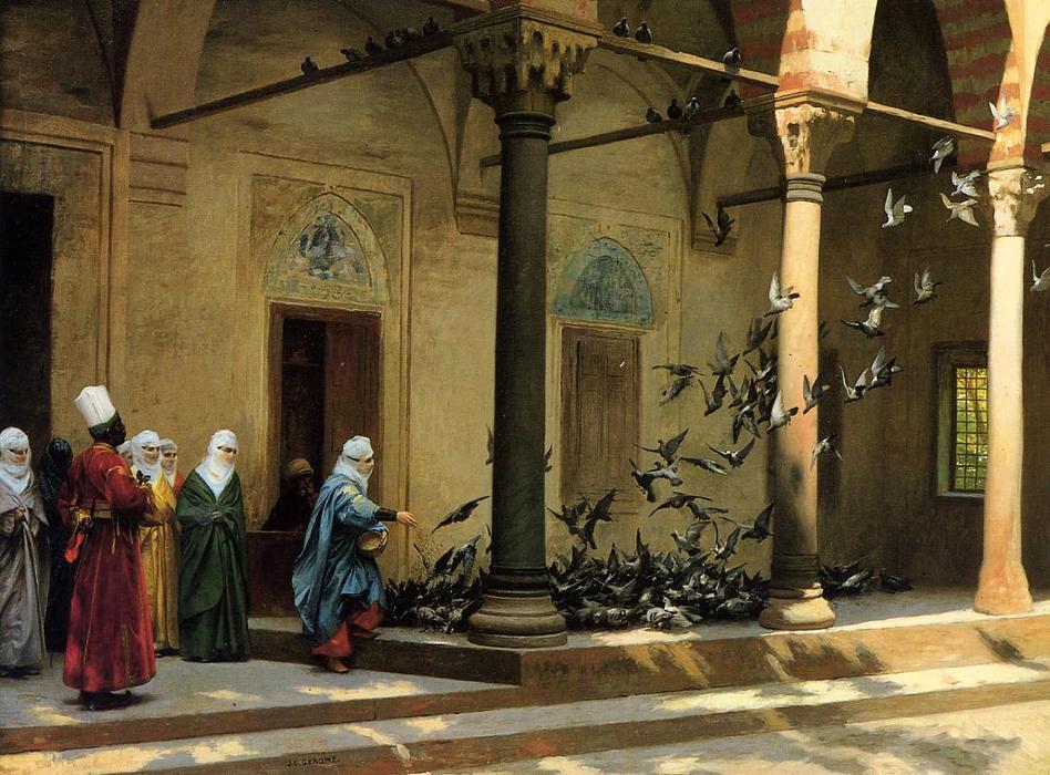 Harem Women Feeding Pigeons in a Courtyard - Jean Léon Gérôme