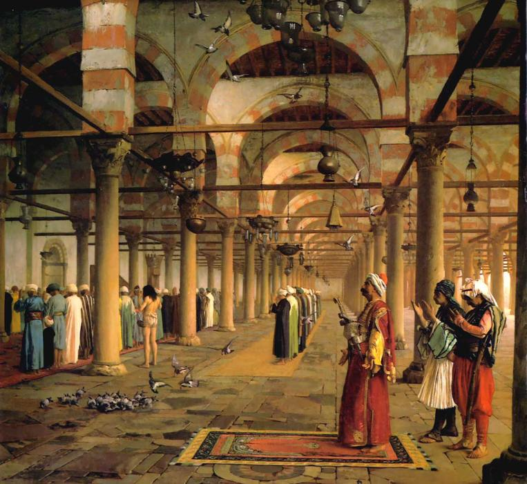 Public Prayer in the Mosque of Amr, Cairo, 1870 by Jean Léon Gérôme (1824-1904, France) | Art Reproductions Jean Léon Gérôme | WahooArt.com